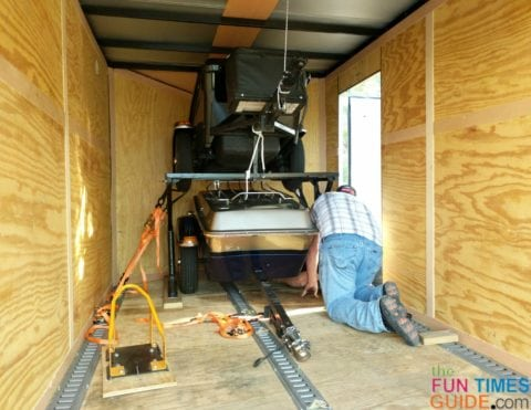Both of our pull-behind motorcycle trailers are loaded. This enclosed motorcycle trailer is 7 feet wide, 7 feet tall, and 14 feet long.