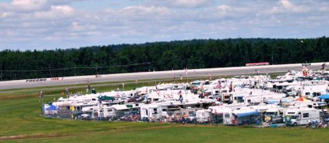 nascar infield rv parking at pocono racetrack