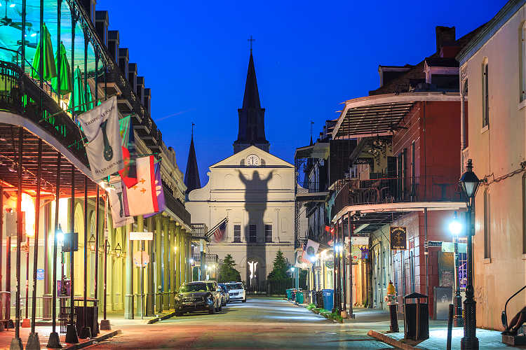 The back of St. Louis Cathedral -- as seen from the French Quarter at night.