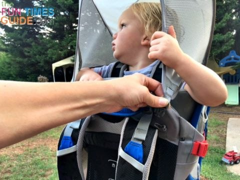 The built-in sun shade on the Osprey baby carrier makes it easy for my son to see through the opening.