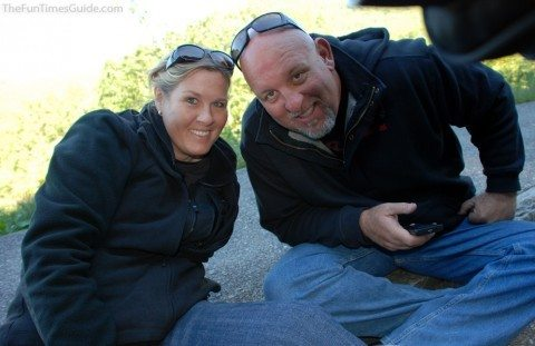 Jim and I enjoying our first 4-day motorcycle trip to East Tennessee and North Carolina. photo by Lynnette at TheFunTimesGuide.com