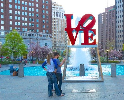 I love to visit the Philadelphia love monument on our weekend getaways to pa