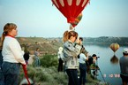 My friend Lisa is photographing hot air balloons while Heidi watches Lisa's dog 'Banker'.