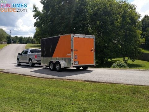 Ready to hit the road with our 2 Harley motorcycles and 2 pull-behind trailers loaded inside a 14-foot enclosed motorcycle trailer!