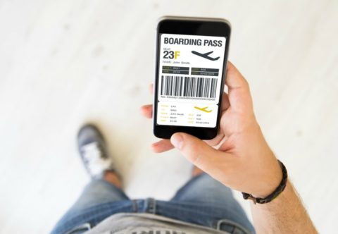 You can print a paper ticket, or pull up your boarding pass on your smartphone.