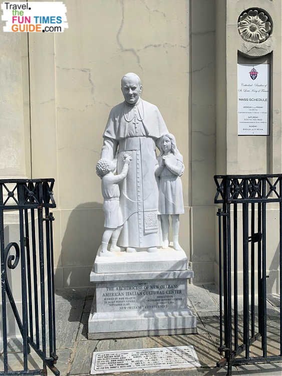 This statue of Pope John Paul II commemorates the pontiff's 1987 visit to St. Louis Cathedral in New Orleans.
