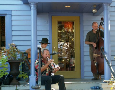 Music on the porch in Yellow Springs, Ohio.