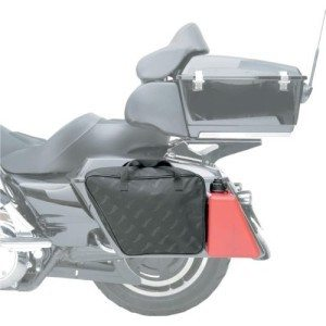 The Reda gas can is shaped to fit inside a motorcycle saddlebag.