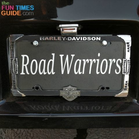 The personalized license plate I bought for our pull-behind motorcycle trailer.