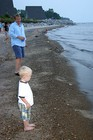 Evan unsure of his footing on this rocky beach on Lake Michigan.