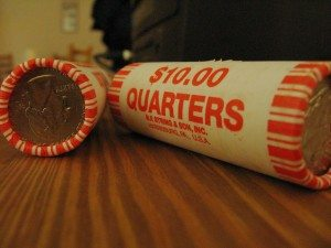 a roll of quarters is handy for doing laundry on long motorcycle road trips