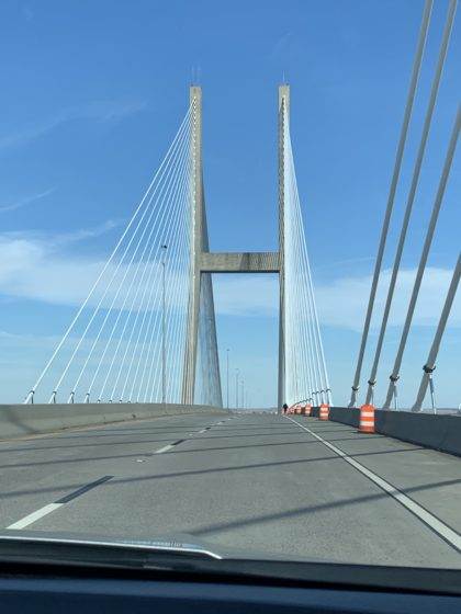 Driving on the Sidney Lanier Bridge over the East Brunswick River on my trip between Jekyll Island and Saint Simons Island.