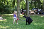 Sophie walking Destin at Seven Points Campground on Percy Priest Lake in Nashville.