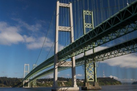 The Tacoma Narrows Bridge is one of the longest suspension bridges in America