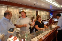 Our friends shopping for jewelry in Aruba. Jewelry shopping is one of my favorite things to do in Aruba.