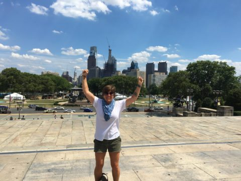 view from the summit of the Rocky Steps in Philadelphia
