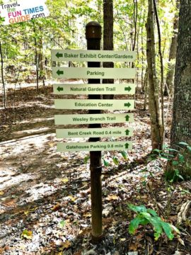 One of the many directional signs that dot the trails at the North Carolina Arboretum