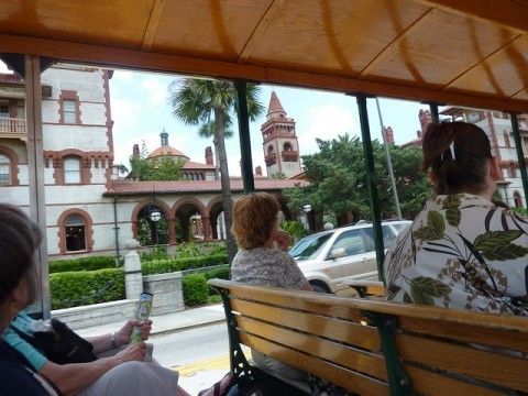 you can ride through downtown St. Augustine on a trolley tour