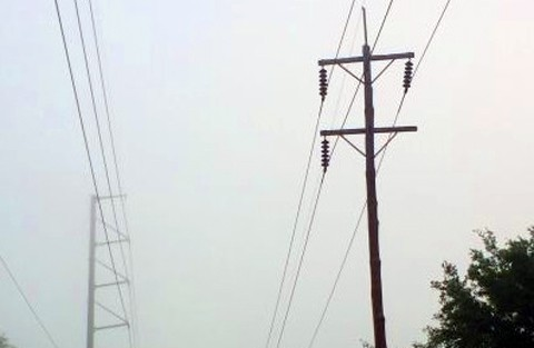 Here are some telephone poles along the highway