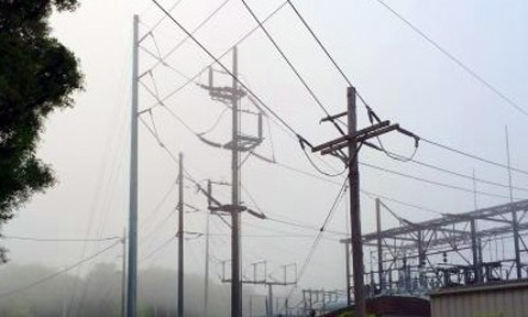 Utility poles and the sub station