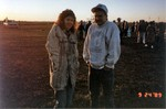 Suzie and friend waiting for hot air balloons to lift-off on this chilly early morning start.