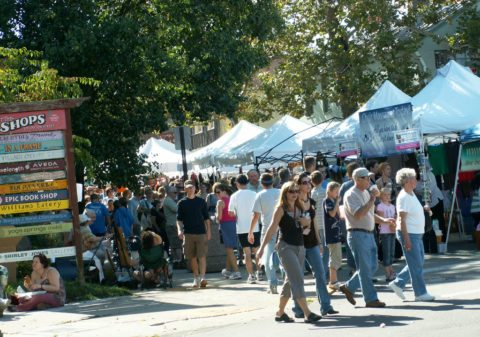 Street fairs in Yellow Springs Ohio are a popular attraction year round.