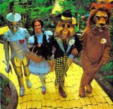 Wizard of Oz characters on the yellow brick road in the Land of Oz.