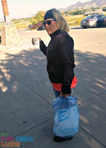 Kay often did the cooler filling each morning - carrying the Ziploc Big Bag filled with ice from the hotel ice machine.