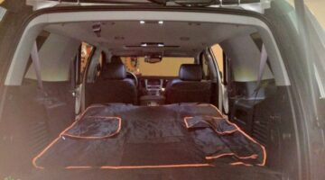 Here is a full cargo area view, with 2 rows of seats down in my 2017 Chevy Tahoe.